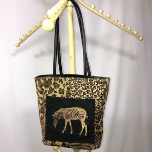 Bueno travel tote animal prints zebra pocket NWOT